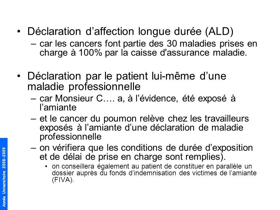 Année Universitaire 2008-2009 Déclaration daffection longue durée (ALD) –car les cancers font partie des 30 maladies prises en charge à 100% par la ca