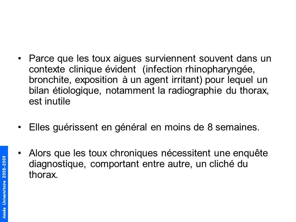 Année Universitaire 2008-2009 Parce que les toux aigues surviennent souvent dans un contexte clinique évident (infection rhinopharyngée, bronchite, ex