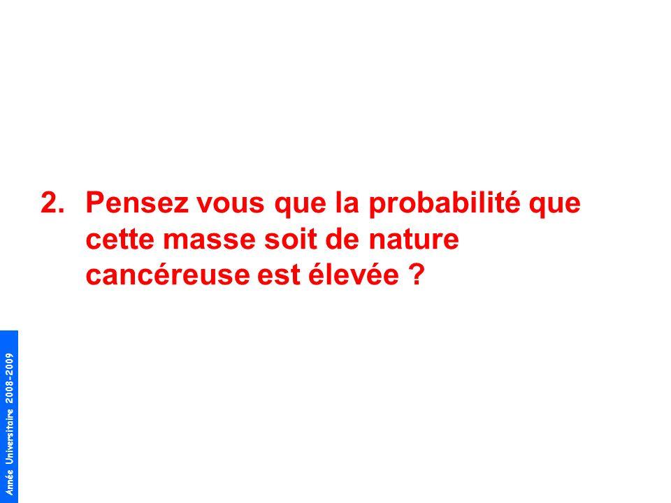 Année Universitaire 2008-2009 2.Pensez vous que la probabilité que cette masse soit de nature cancéreuse est élevée ?