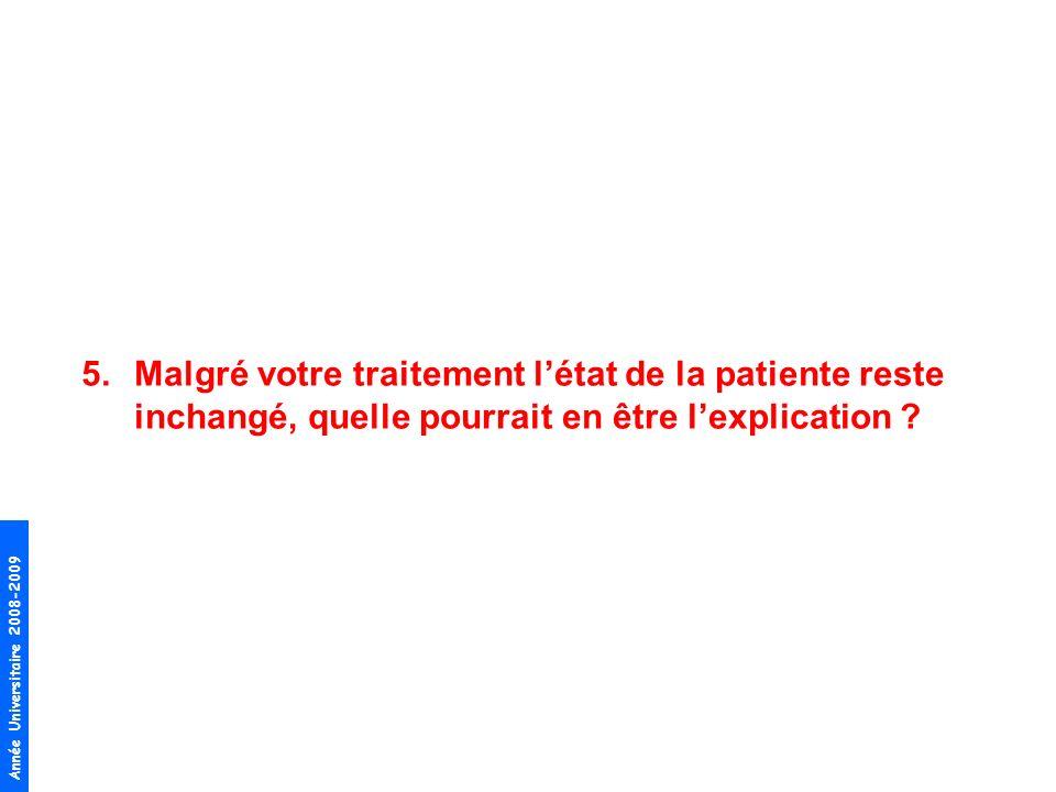 Année Universitaire 2008-2009 5.Malgré votre traitement létat de la patiente reste inchangé, quelle pourrait en être lexplication ?