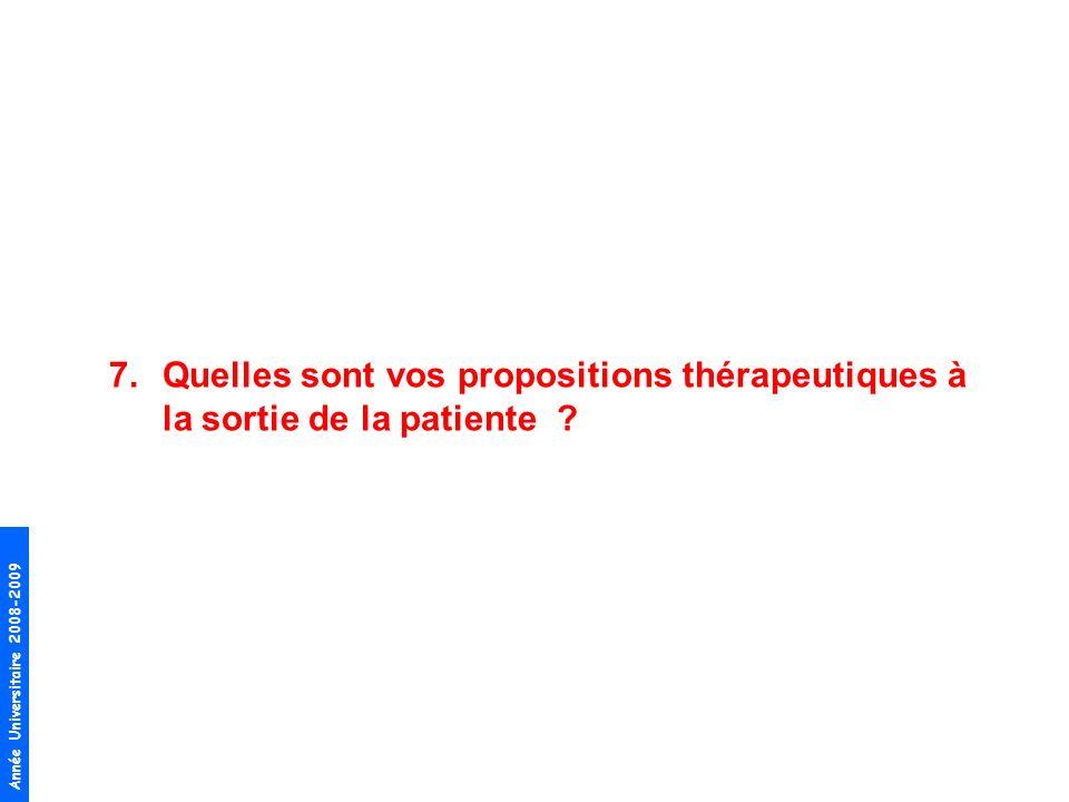 Année Universitaire 2008-2009 7.Quelles sont vos propositions thérapeutiques à la sortie de la patiente ?