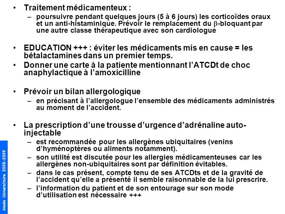 Année Universitaire 2008-2009 Traitement médicamenteux : –poursuivre pendant quelques jours (5 à 6 jours) les corticoïdes oraux et un anti-histaminiqu