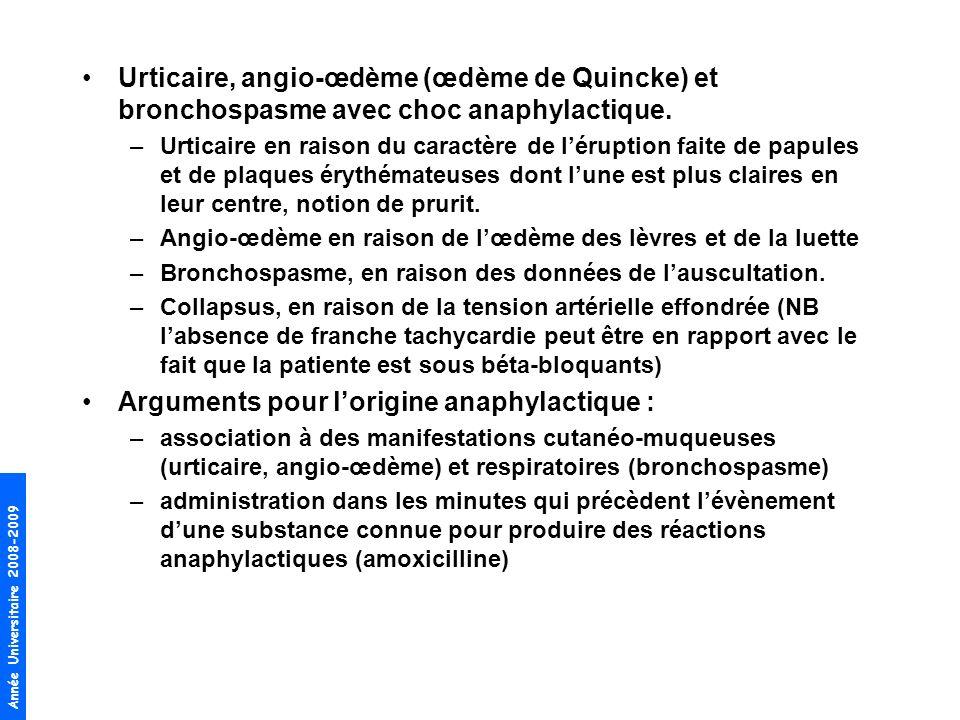 Année Universitaire 2008-2009 Urticaire, angio-œdème (œdème de Quincke) et bronchospasme avec choc anaphylactique. –Urticaire en raison du caractère d