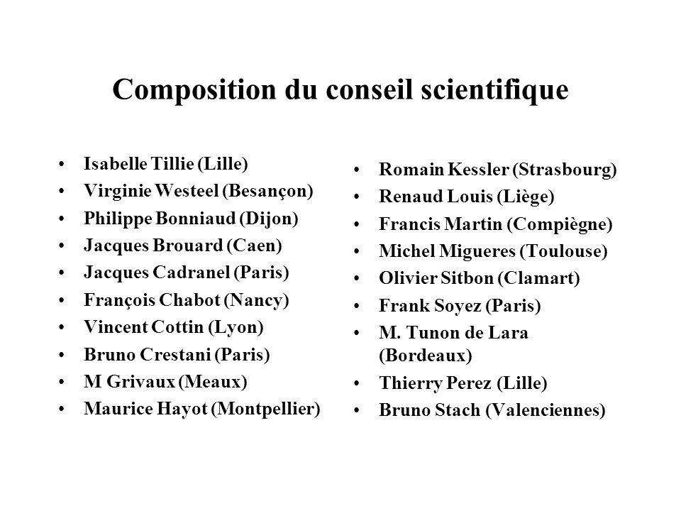Isabelle Tillie (Lille) Virginie Westeel (Besançon) Philippe Bonniaud (Dijon) Jacques Brouard (Caen) Jacques Cadranel (Paris) François Chabot (Nancy)