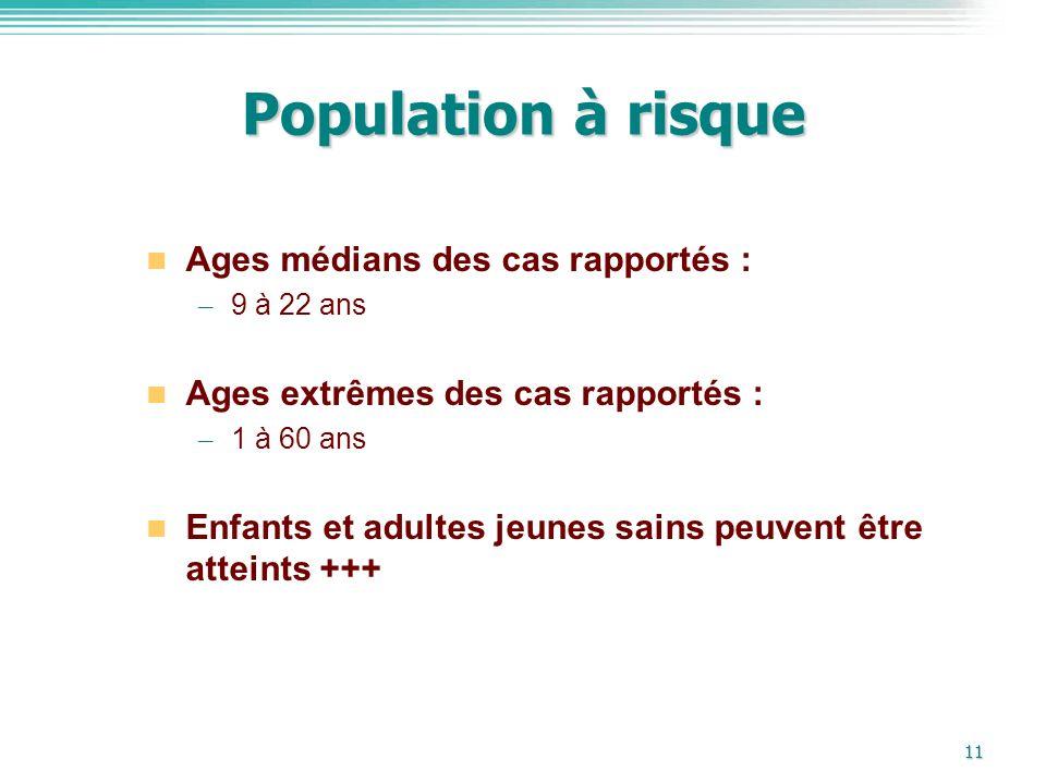 11 Population à risque Ages médians des cas rapportés : – 9 à 22 ans Ages extrêmes des cas rapportés : – 1 à 60 ans Enfants et adultes jeunes sains pe