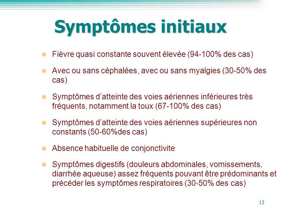 13 Symptômes initiaux Fièvre quasi constante souvent élevée (94-100% des cas) Avec ou sans céphalées, avec ou sans myalgies (30-50% des cas) Symptômes