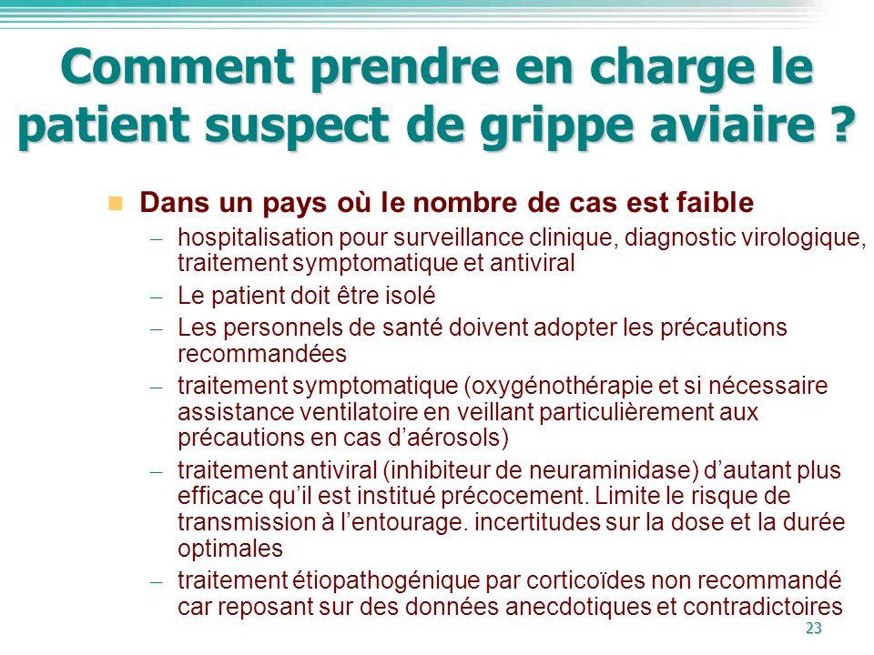 23 Comment prendre en charge le patient suspect de grippe aviaire ? Dans un pays où le nombre de cas est faible – hospitalisation pour surveillance cl