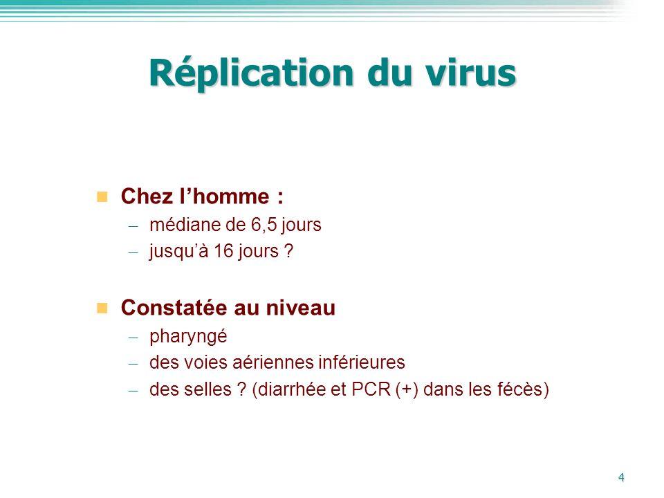 4 Réplication du virus Chez lhomme : – médiane de 6,5 jours – jusquà 16 jours ? Constatée au niveau – pharyngé – des voies aériennes inférieures – des