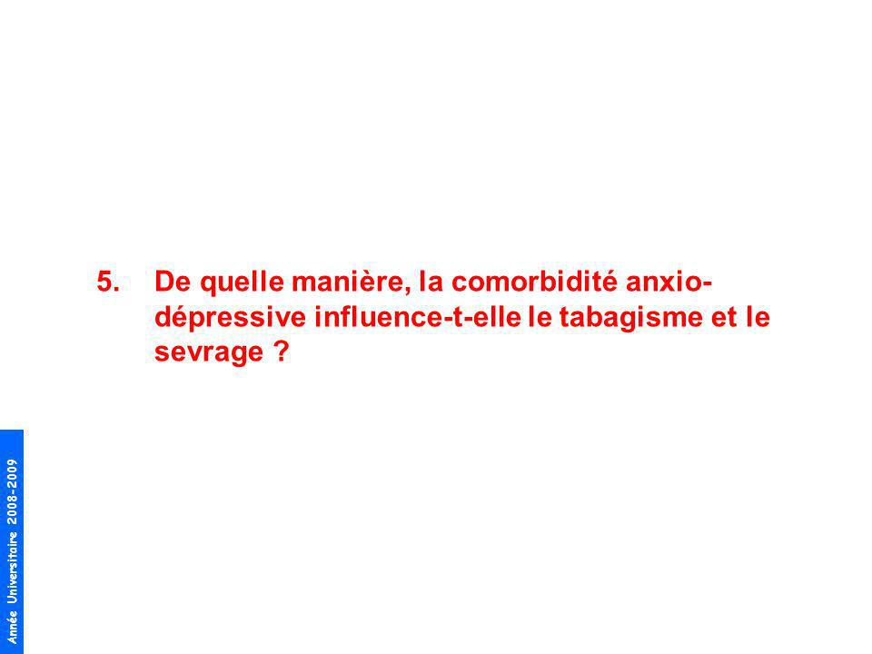 Année Universitaire 2008-2009 5.De quelle manière, la comorbidité anxio- dépressive influence-t-elle le tabagisme et le sevrage ?