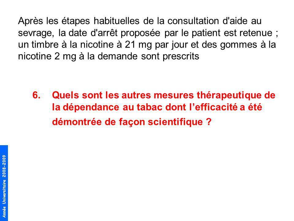 Année Universitaire 2008-2009 6.Quels sont les autres mesures thérapeutique de la dépendance au tabac dont lefficacité a été démontrée de façon scient
