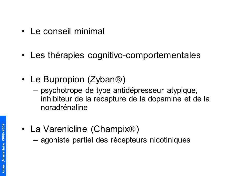 Année Universitaire 2008-2009 Le conseil minimal Les thérapies cognitivo-comportementales Le Bupropion (Zyban ) –psychotrope de type antidépresseur at