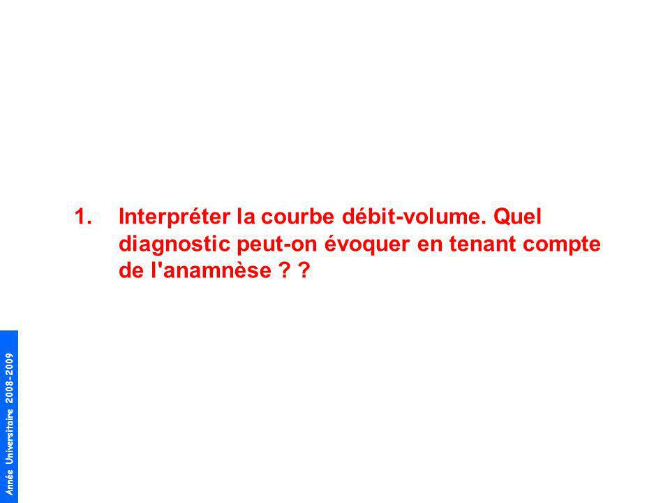 Année Universitaire 2008-2009 Courbe débit volume –TVO (VEMS/CVF < 70%), non réversible après BD –Obstruction distale (aspect concave de la courbe, DEM25-75 = 48%) Diagnostic =BPCO légère (Stade I dans la classification GOLD) –TVO non réversible et VEMS > 80% Th –Tabagisme cumulé > 20P-A