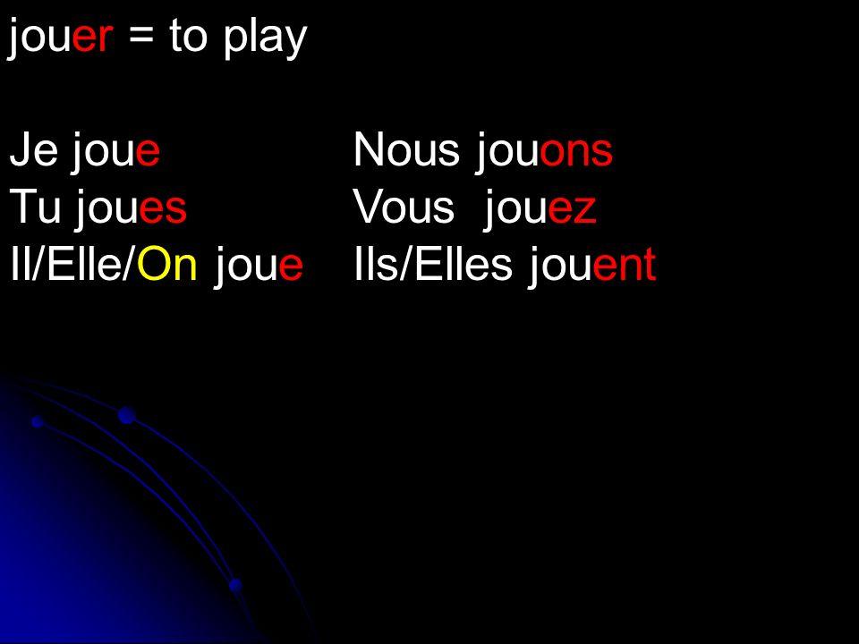 jouer = to play Je joue Nous jouons Tu jouesVous jouez Il/Elle/On joueIls/Elles jouent