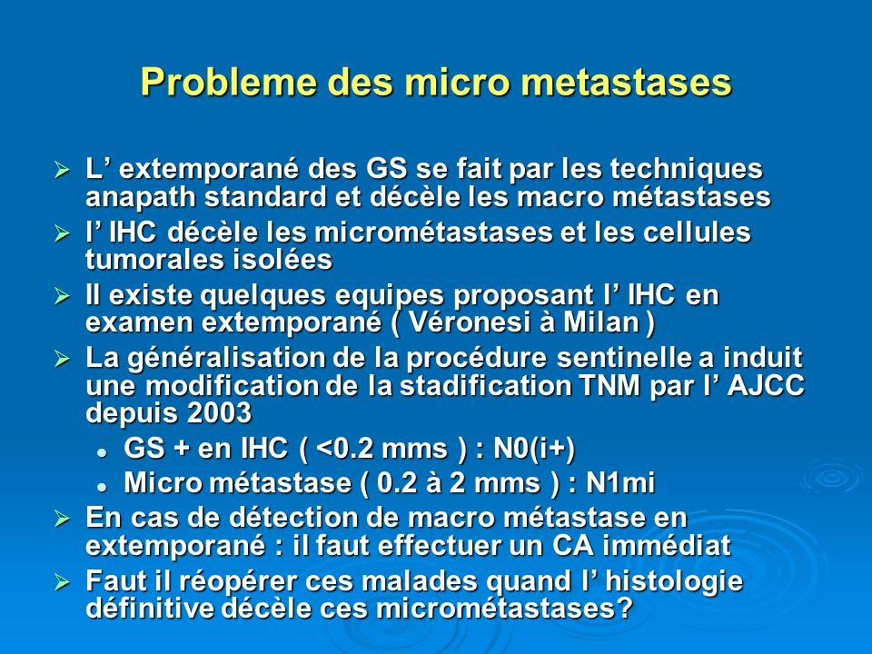 Probleme des micro metastases L extemporané des GS se fait par les techniques anapath standard et décèle les macro métastases L extemporané des GS se