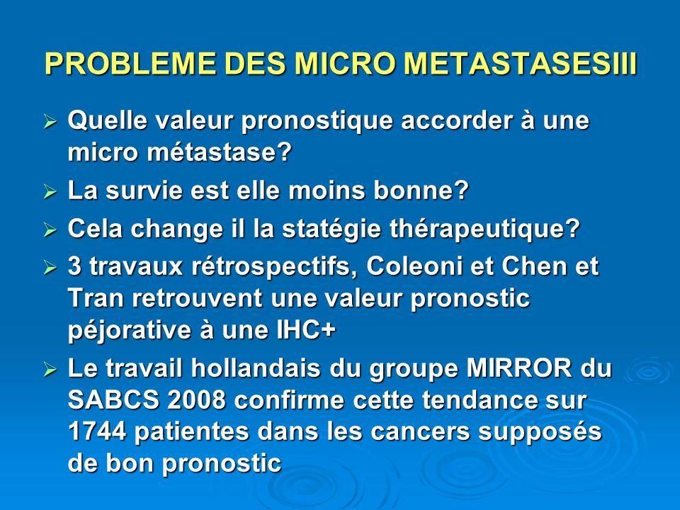 PROBLEME DES MICRO METASTASESIII Quelle valeur pronostique accorder à une micro métastase? Quelle valeur pronostique accorder à une micro métastase? L