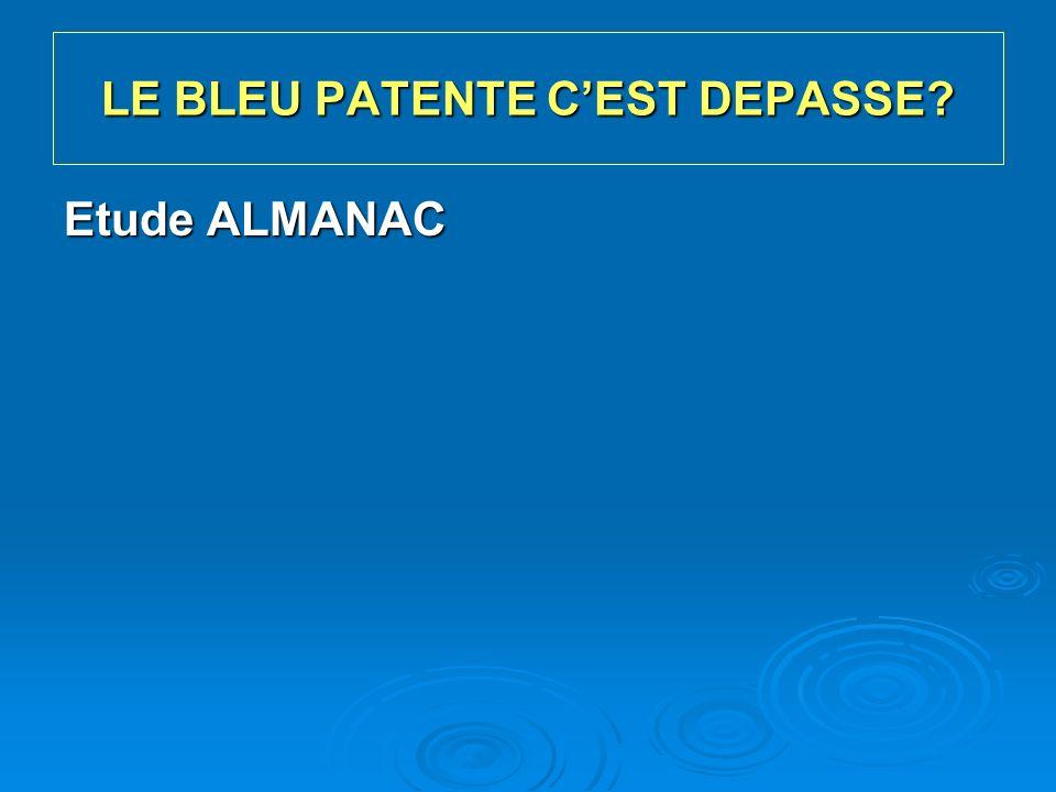 Chirurgie Essais ALMANAC et NEW START Chirurgie Essais ALMANAC et NEW START AuteurPatientes N+Agent Réaction allergique Réaction de grade III Leong 2000406Bleu isosultan3/406 (0,7 %) Albo 2001639Bleu isosultan7/639 (1,1 %) Cimmino 2001267Bleu isosultan5/267 (2 %)2/267 (0,7 %) Blessing 200287Bleu isosultan00 Montgomery 20022 392Bleu isosultan39/2 392 (1,6 %)9/2 392 (0,4 %) King 20041 728Bleu isosultan31/1 728 (1,8 %)2/1 728 (0,1 %) Daley 20041 835Bleu isosultan28/1 835 (1,5 %)14/1 835 (0,75 %) Komenaka 2005351Bleu isosultan3/351 (0,9 %)0 Raut 2005667Bleu isosultan3/667 (0,4 %)0 Total8 37237/8 372 (0,4 %) ALMANAC + NEW START 5 853Bleu patent V51/5 853 (0,9 %)2/5 853 (0,05 %) Fréquence des réactions allergiques au bleu SABCS 2008 - Daprès de Barthelmes L.
