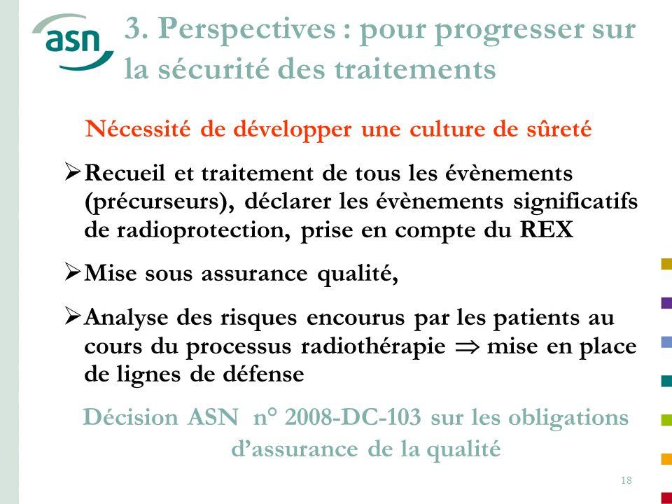 18 3. Perspectives : pour progresser sur la sécurité des traitements Nécessité de développer une culture de sûreté Recueil et traitement de tous les é