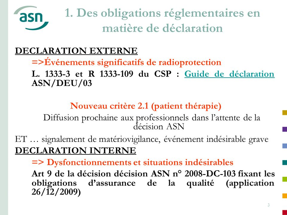 3 1. Des obligations réglementaires en matière de déclaration DECLARATION EXTERNE =>Événements significatifs de radioprotection L. 1333-3 et R 1333-10