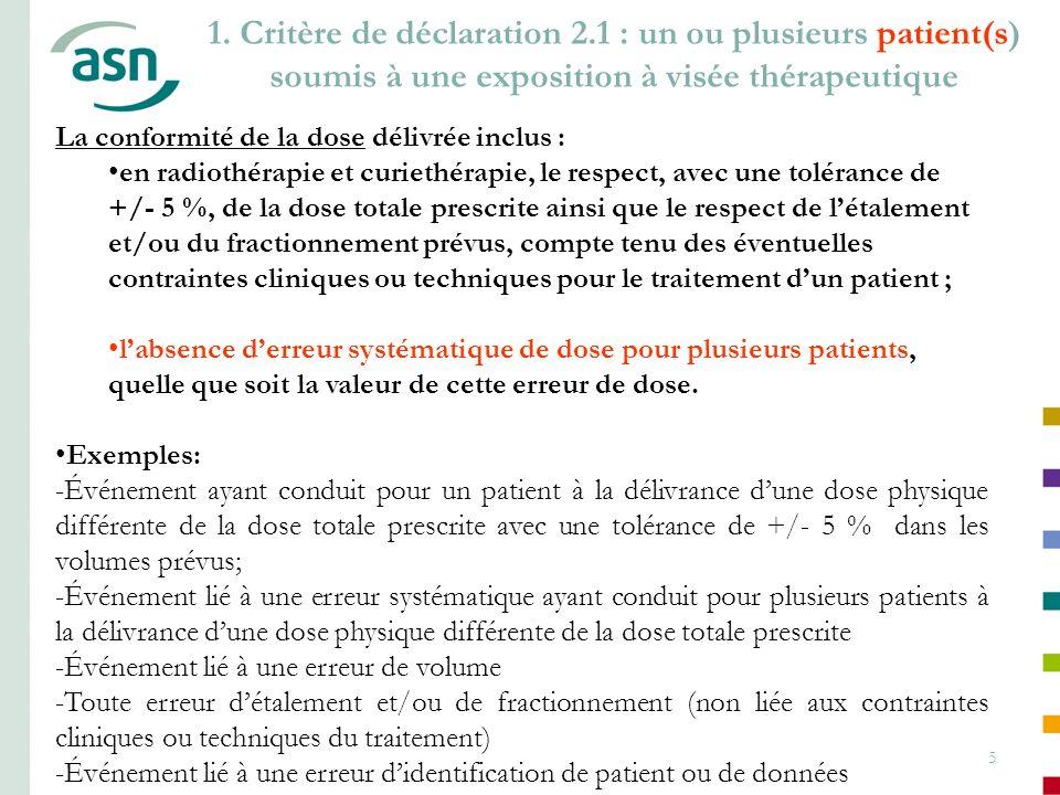 5 1. Critère de déclaration 2.1 : un ou plusieurs patient(s) soumis à une exposition à visée thérapeutique La conformité de la dose délivrée inclus :