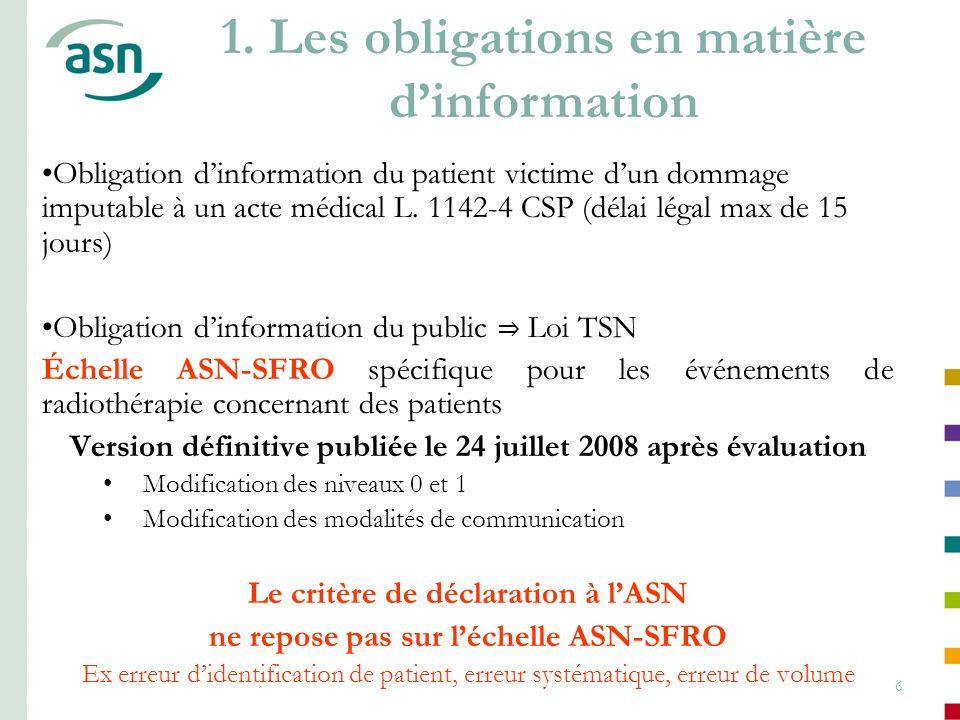 6 Obligation dinformation du patient victime dun dommage imputable à un acte médical L. 1142-4 CSP (délai légal max de 15 jours) Obligation dinformati