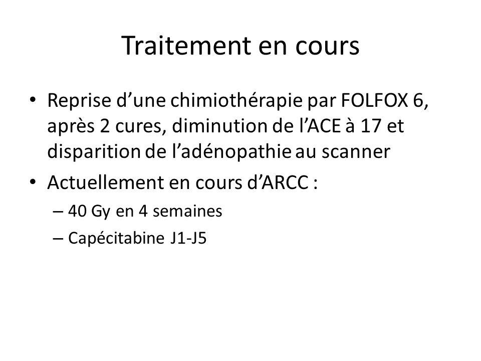 Traitement en cours Reprise dune chimiothérapie par FOLFOX 6, après 2 cures, diminution de lACE à 17 et disparition de ladénopathie au scanner Actuellement en cours dARCC : – 40 Gy en 4 semaines – Capécitabine J1-J5