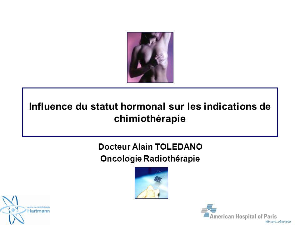Influence du statut hormonal sur les indications de chimiothérapie Docteur Alain TOLEDANO Oncologie Radiothérapie
