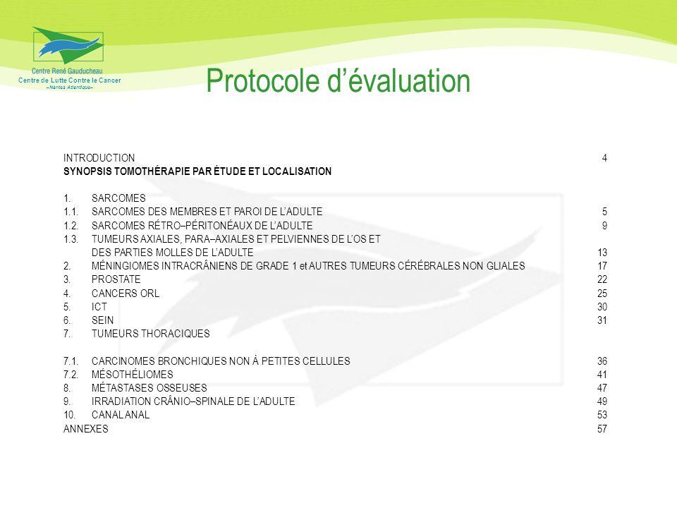Centre de Lutte Contre le Cancer –Nantes Atlantique– Protocole dévaluation INTRODUCTION4 SYNOPSIS TOMOTHÉRAPIE PAR ÉTUDE ET LOCALISATION 1.SARCOMES 1.