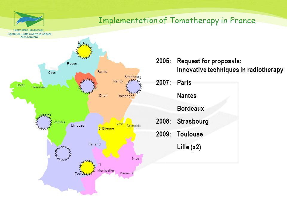 Centre de Lutte Contre le Cancer –Nantes Atlantique– 1 Montpellier Marseille Nice St Etienne Lyon Grenoble Bordeaux Toulouse Limoges – Ferrand Poitier