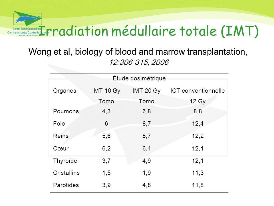 Centre de Lutte Contre le Cancer –Nantes Atlantique– Irradiation médullaire totale (IMT) Wong et al, biology of blood and marrow transplantation, 12:3