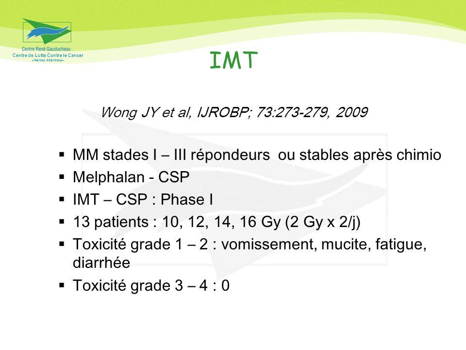 Centre de Lutte Contre le Cancer –Nantes Atlantique– IMT Wong JY et al, IJROBP; 73:273-279, 2009 MM stades I – III répondeurs ou stables après chimio