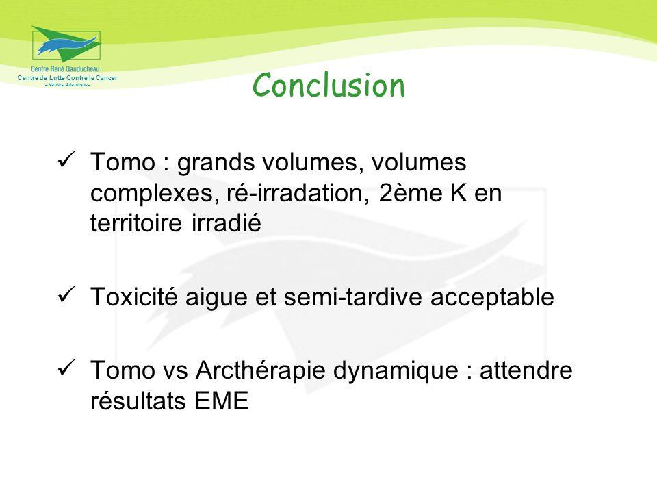 Centre de Lutte Contre le Cancer –Nantes Atlantique– Conclusion Tomo : grands volumes, volumes complexes, ré-irradation, 2ème K en territoire irradié