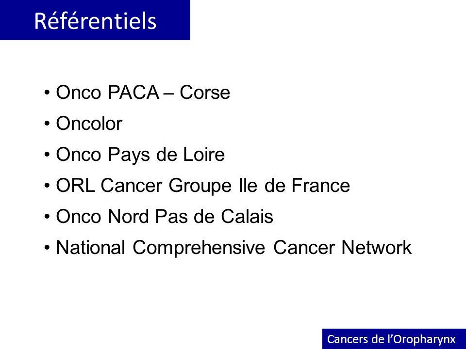Référentiels Cancers de lOropharynx Onco PACA – Corse Oncolor Onco Pays de Loire ORL Cancer Groupe Ile de France Onco Nord Pas de Calais National Comp