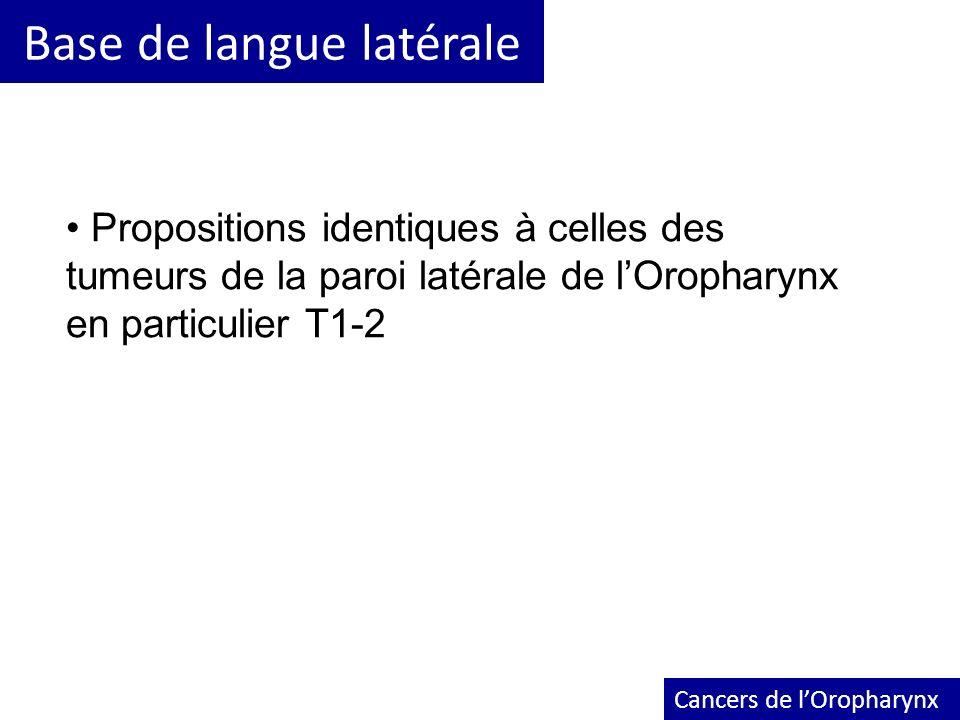 Base de langue latérale Cancers de lOropharynx Propositions identiques à celles des tumeurs de la paroi latérale de lOropharynx en particulier T1-2