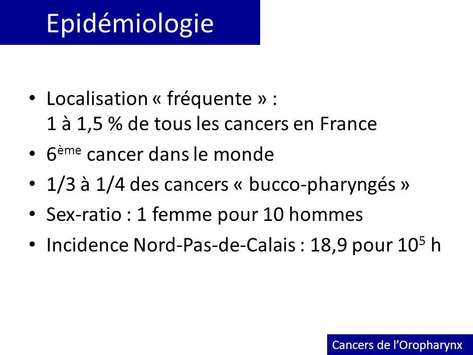 Epidémiologie Localisation « fréquente » : 1 à 1,5 % de tous les cancers en France 6 ème cancer dans le monde 1/3 à 1/4 des cancers « bucco-pharyngés