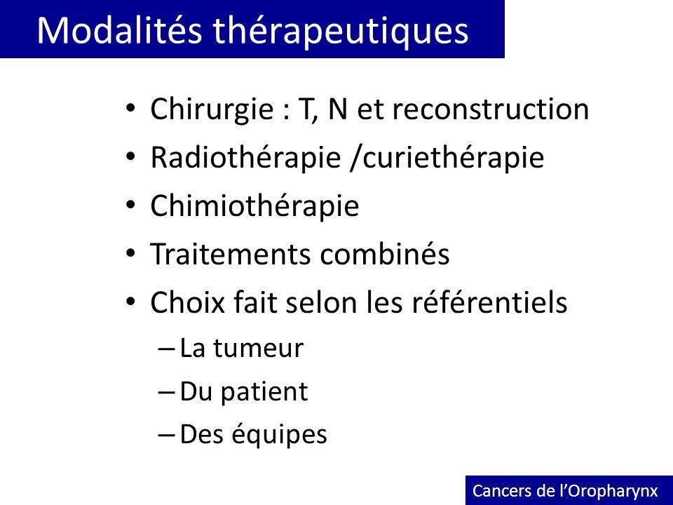 Modalités thérapeutiques Chirurgie : T, N et reconstruction Radiothérapie /curiethérapie Chimiothérapie Traitements combinés Choix fait selon les réfé