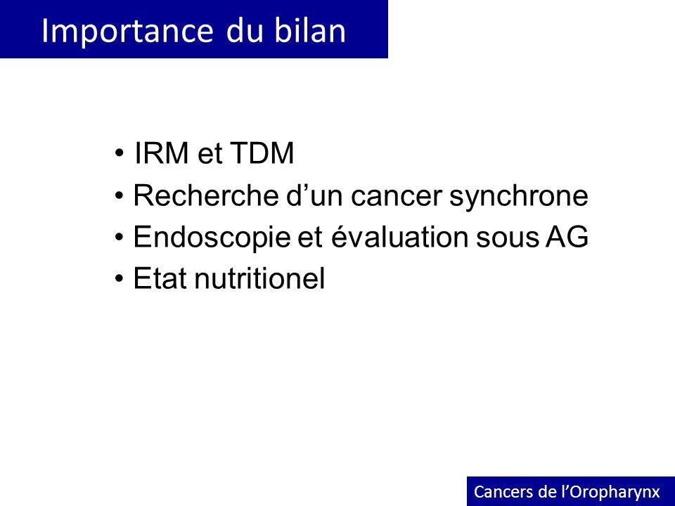 Importance du bilan Cancers de lOropharynx IRM et TDM Recherche dun cancer synchrone Endoscopie et évaluation sous AG Etat nutritionel