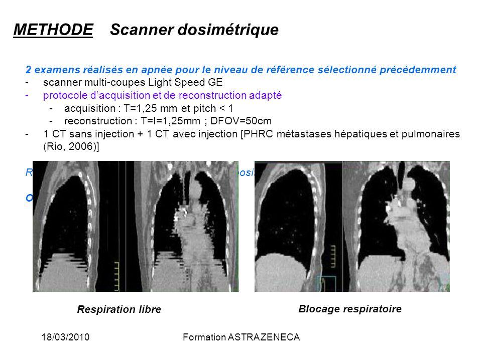 18/03/2010Formation ASTRA ZENECA 2 examens réalisés en apnée pour le niveau de référence sélectionné précédemment -scanner multi-coupes Light Speed GE