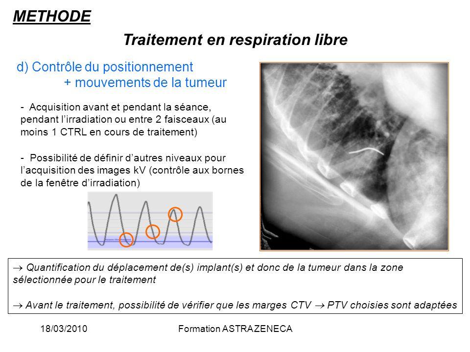 18/03/2010Formation ASTRA ZENECA d) Contrôle du positionnement + mouvements de la tumeur Traitement en respiration libre METHODE - Acquisition avant e