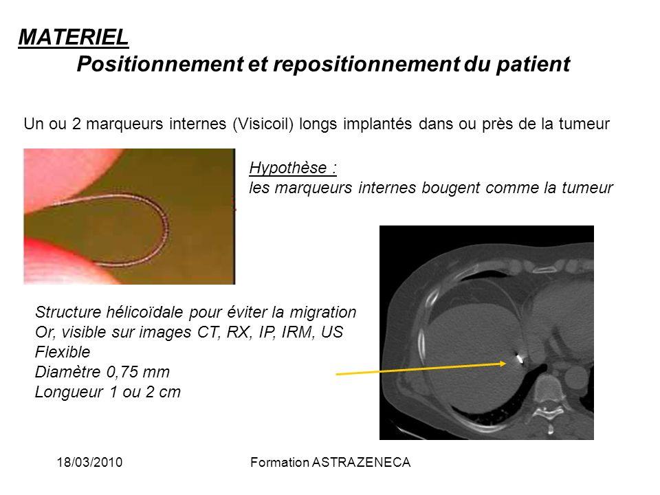 18/03/2010Formation ASTRA ZENECA MATERIEL Positionnement et repositionnement du patient Un ou 2 marqueurs internes (Visicoil) longs implantés dans ou