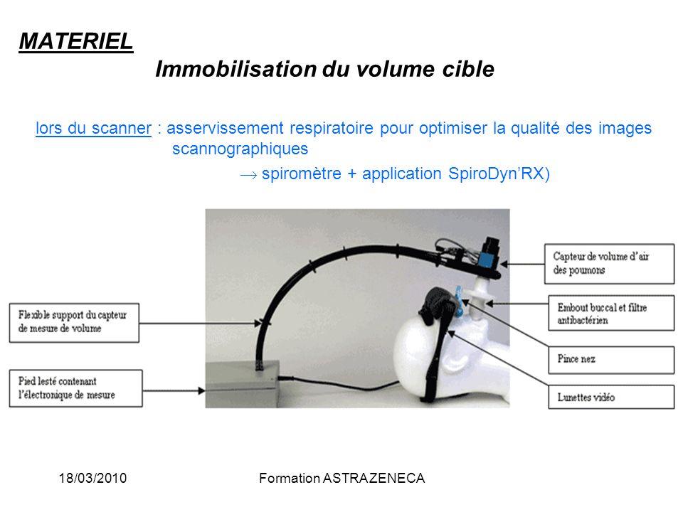 18/03/2010Formation ASTRA ZENECA MATERIEL Immobilisation du volume cible lors du scanner : asservissement respiratoire pour optimiser la qualité des i
