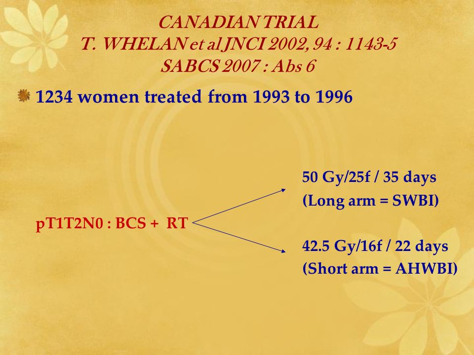 CANADIAN TRIAL T. WHELAN et al JNCI 2002, 94 : 1143-5 SABCS 2007 : Abs 6 1234 women treated from 1993 to 1996 50 Gy/25f / 35 days (Long arm = SWBI) pT