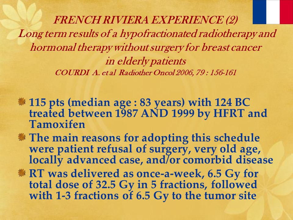 FRENCH RIVIERA EXPERIENCE (2) Long term results of a hypofractionated radiotherapy and hormonal therapy without surgery for breast cancer in elderly p