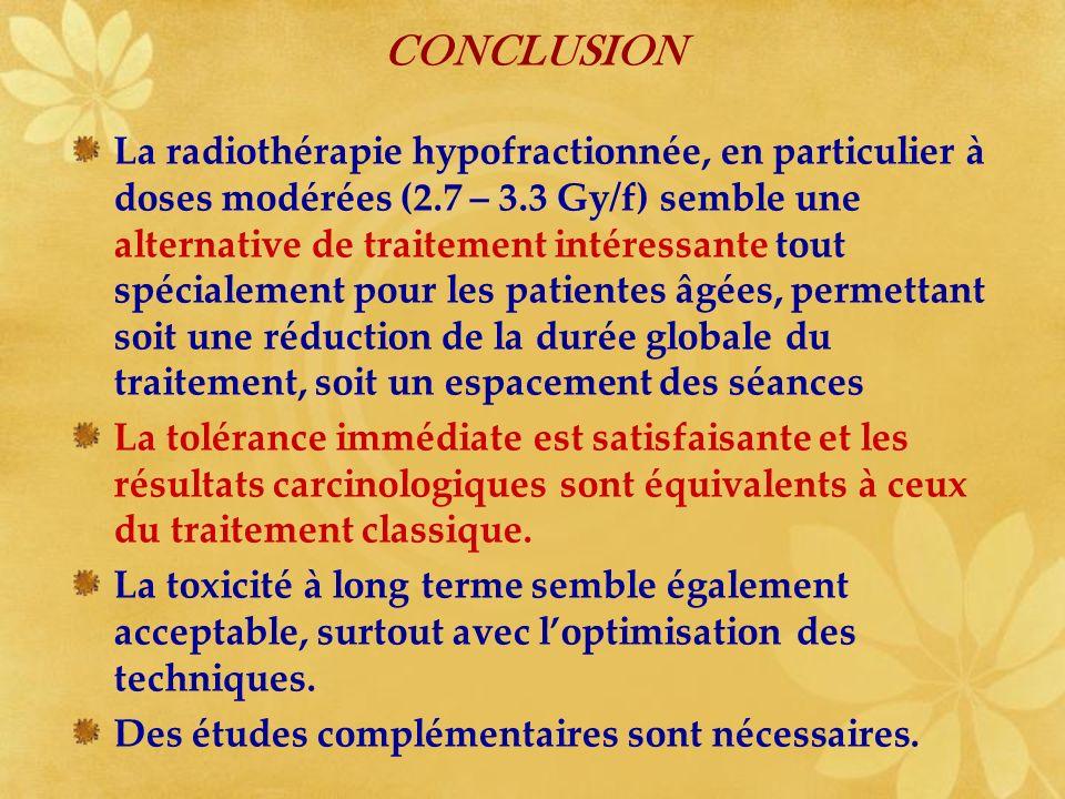 CONCLUSION La radiothérapie hypofractionnée, en particulier à doses modérées (2.7 – 3.3 Gy/f) semble une alternative de traitement intéressante tout s