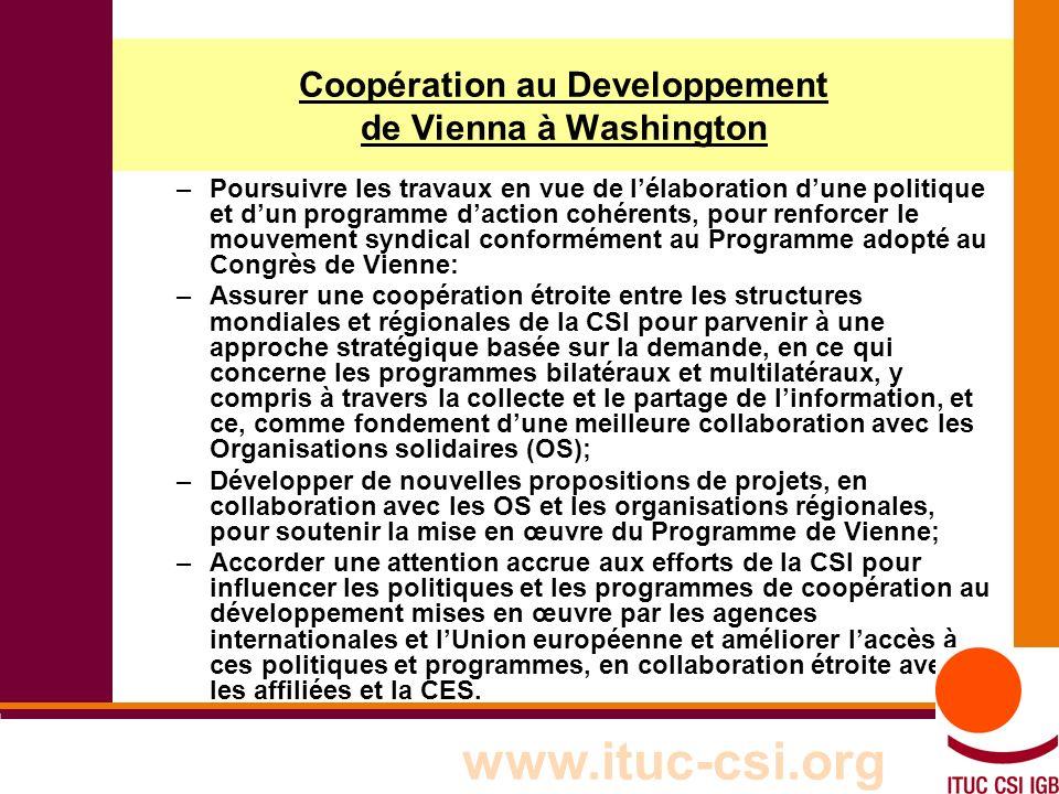 2 8-9/10/8008 Coopération au Developpement de Vienna à Washington –Poursuivre les travaux en vue de lélaboration dune politique et dun programme daction cohérents, pour renforcer le mouvement syndical conformément au Programme adopté au Congrès de Vienne: –Assurer une coopération étroite entre les structures mondiales et régionales de la CSI pour parvenir à une approche stratégique basée sur la demande, en ce qui concerne les programmes bilatéraux et multilatéraux, y compris à travers la collecte et le partage de linformation, et ce, comme fondement dune meilleure collaboration avec les Organisations solidaires (OS); –Développer de nouvelles propositions de projets, en collaboration avec les OS et les organisations régionales, pour soutenir la mise en œuvre du Programme de Vienne; –Accorder une attention accrue aux efforts de la CSI pour influencer les politiques et les programmes de coopération au développement mises en œuvre par les agences internationales et lUnion européenne et améliorer laccès à ces politiques et programmes, en collaboration étroite avec les affiliées et la CES.