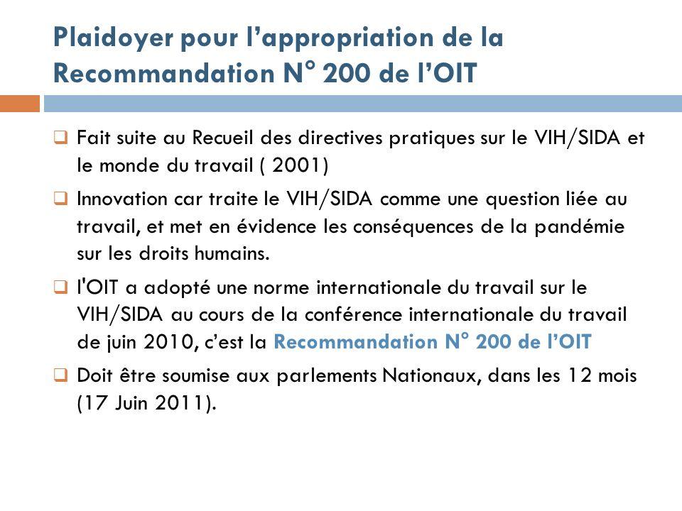 Plaidoyer pour lappropriation de la Recommandation N° 200 de lOIT Fait suite au Recueil des directives pratiques sur le VIH/SIDA et le monde du travail ( 2001) Innovation car traite le VIH/SIDA comme une question liée au travail, et met en évidence les conséquences de la pandémie sur les droits humains.