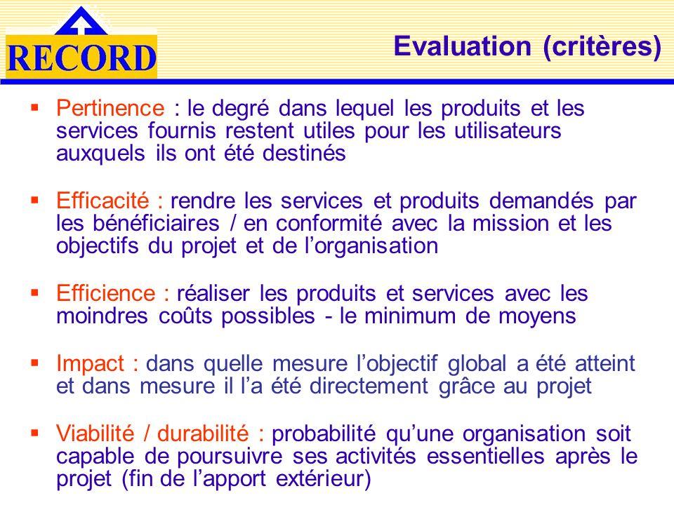 Evaluation (critères) Pertinence : le degré dans lequel les produits et les services fournis restent utiles pour les utilisateurs auxquels ils ont été