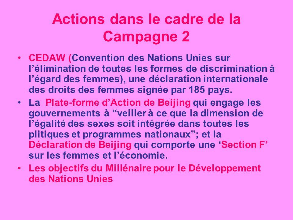 Actions dans le cadre de la Campagne 2 CEDAW (Convention des Nations Unies sur lélimination de toutes les formes de discrimination à légard des femmes), une déclaration internationale des droits des femmes signée par 185 pays.
