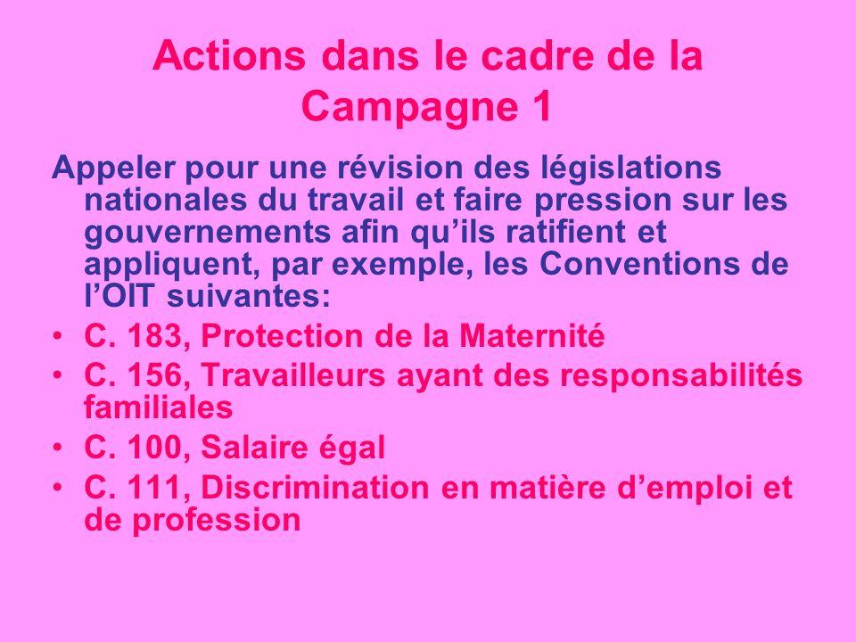 Actions dans le cadre de la Campagne 1 Appeler pour une révision des législations nationales du travail et faire pression sur les gouvernements afin quils ratifient et appliquent, par exemple, les Conventions de lOIT suivantes: C.