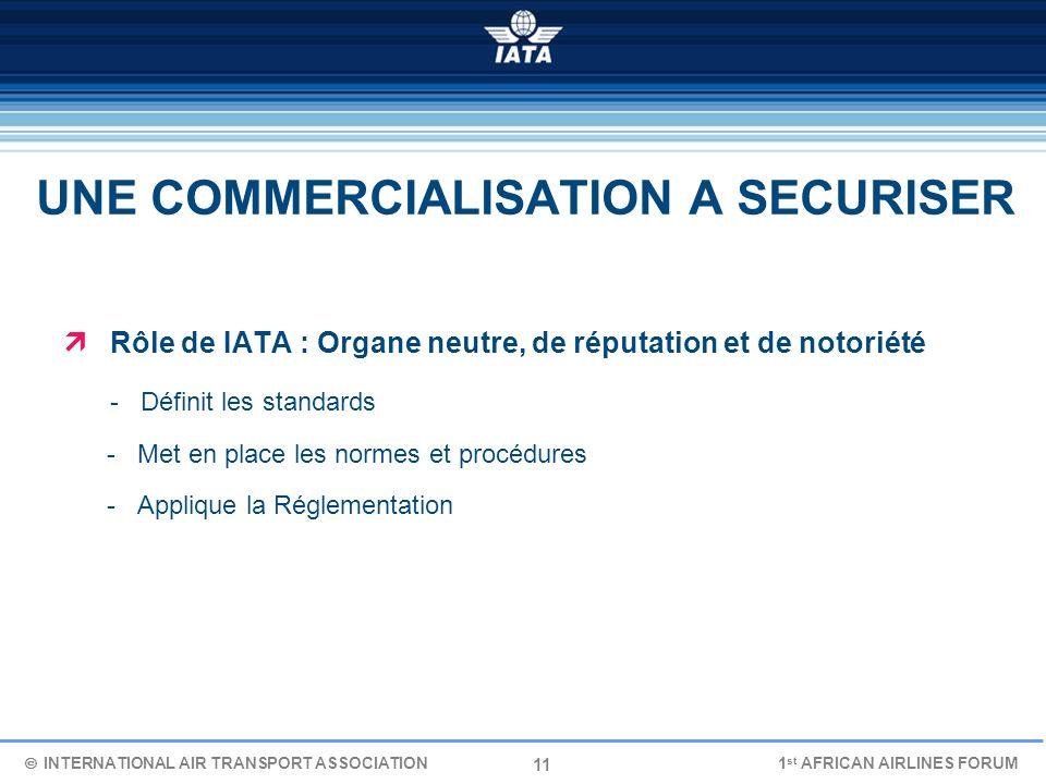 11 UNE COMMERCIALISATION A SECURISER Rôle de IATA : Organe neutre, de réputation et de notoriété - Définit les standards - Met en place les normes et