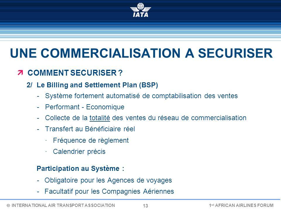 13 UNE COMMERCIALISATION A SECURISER COMMENT SECURISER ? 2/ Le Billing and Settlement Plan (BSP) - Système fortement automatisé de comptabilisation de
